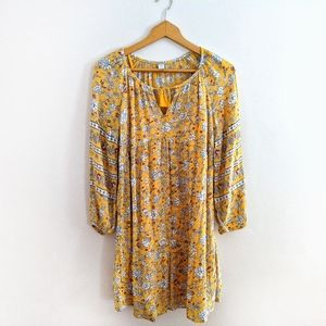 NWT Old Navy Yellow Floral Boho Peasant Dress XS